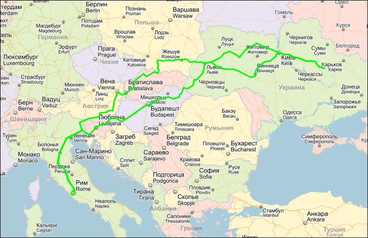 map europe карта европа маршрут